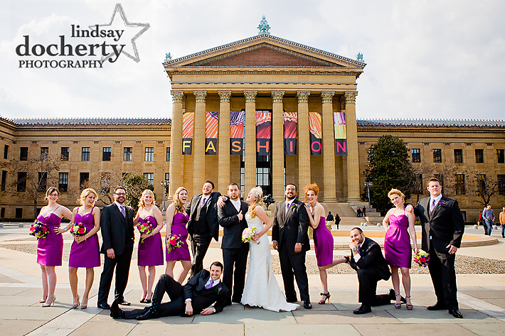 fun bridal party at Philadelphia Art Museum