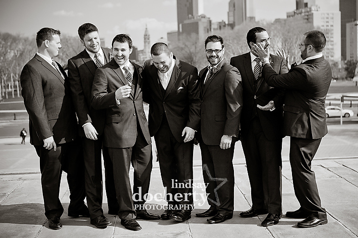 fun groomsmen at Philadelphia Art Museum
