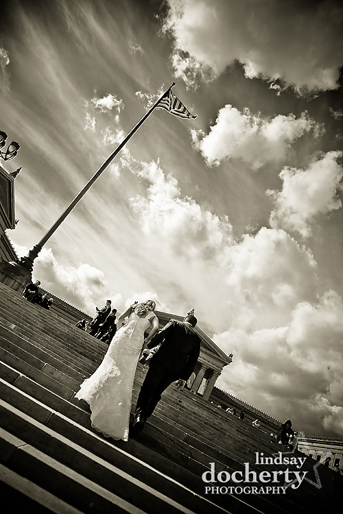 couple at Philadelphia Art Museum stairs