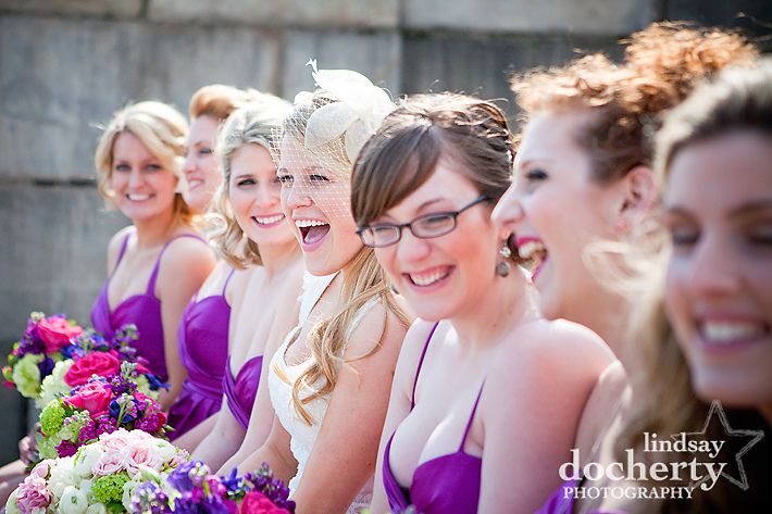 fun bridesmaids at Philadelphia Art Museum
