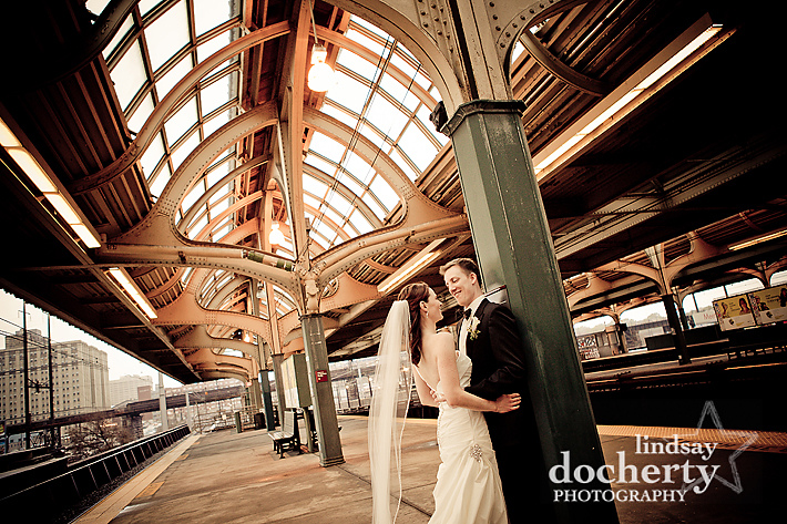bride and groom at 30th street station