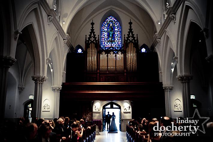 bride entering St. Thomas of Villanova Church