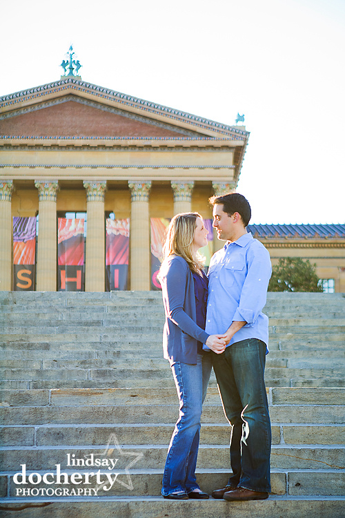engagement session Philadelphia Art Muesum