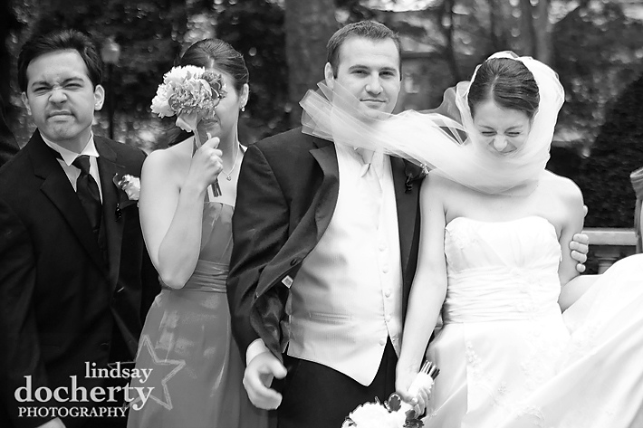 bridal party in wind