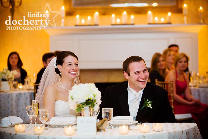 wedding toasts at reception at Radisson Warwick
