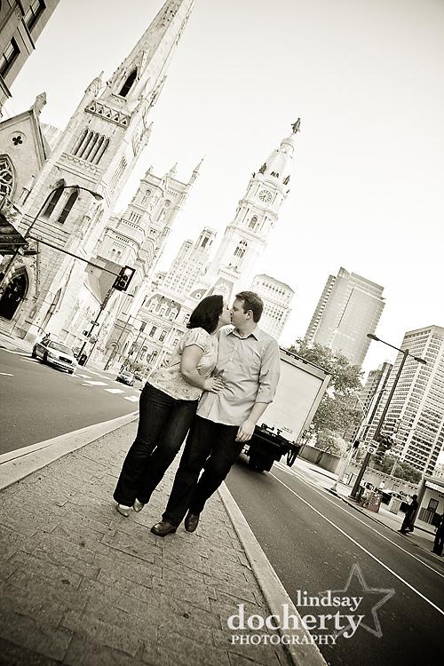 Philadelphia engagement session Broad Street