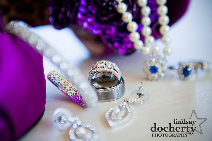bride's jewelry and shoes