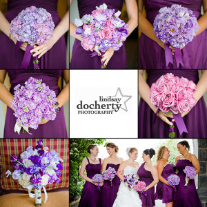bridesmaid purple flowers