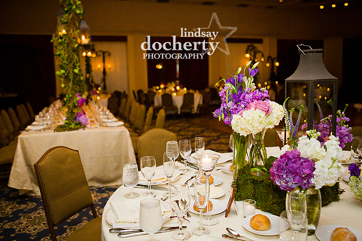 purple wedding reception at Tarrytown House Estate