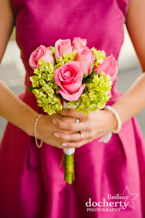 Wedding photography with pink and green flowers