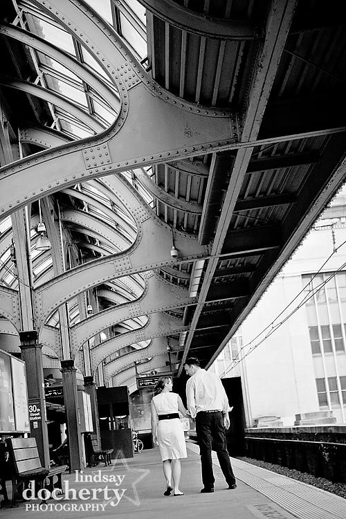 engagement photography at Philadelphia 30th street station