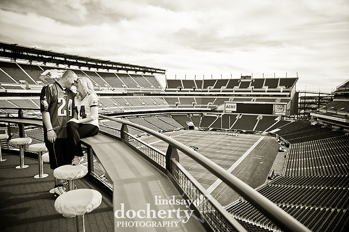 Philadelphia engagement session at Lincoln Financial Field