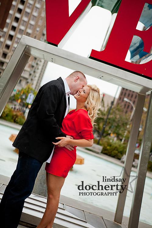 Philadelphia engagement session at Love Park