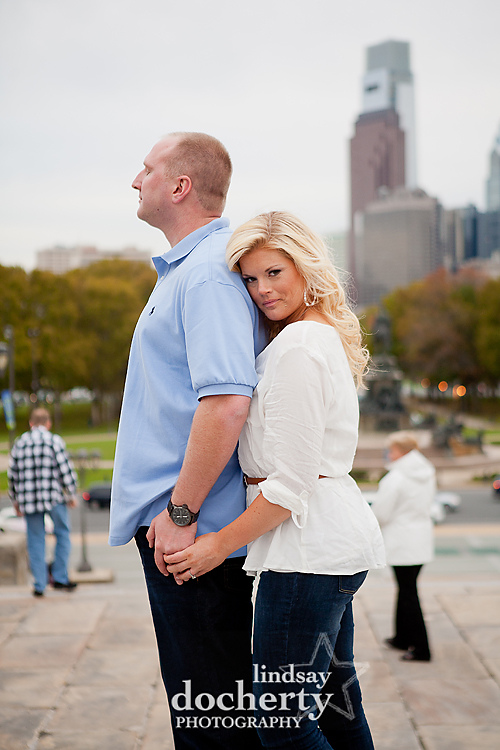Philadelphia engagement session at Philly Art Museum
