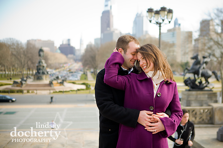 Philadelphia engagement session at Art Museum