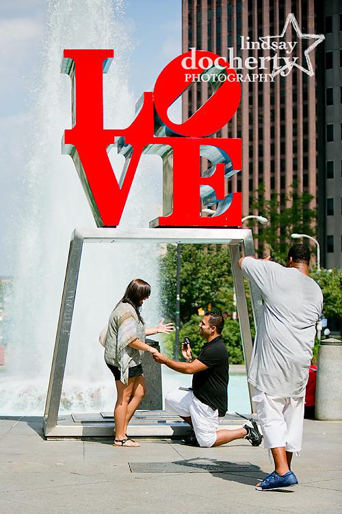 Proposal in Philadelphia LOVE Park