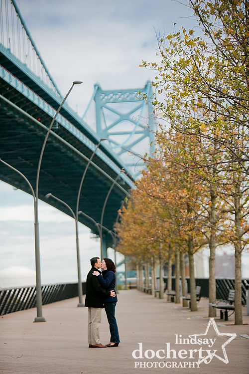 Philadelphia  engagement photography at Race Street Pier