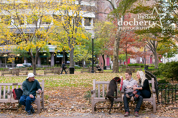 Philadelphia Rittenhouse Square engagement pictures with dog