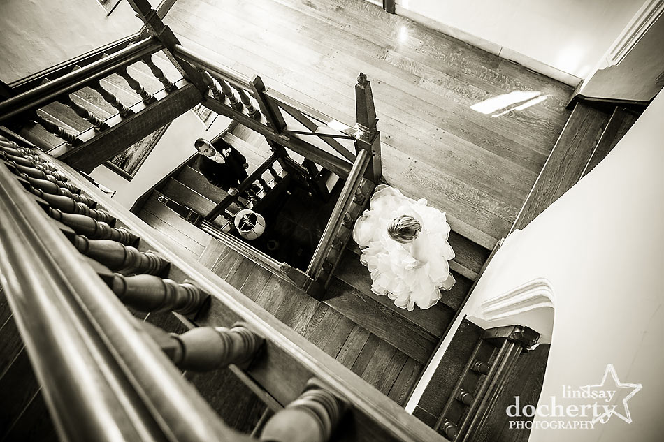Beautoful stairway for bride and groom at Aldie Mansion wedding