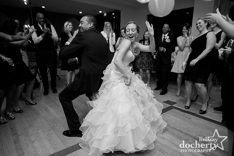 Bride and groom dancing at Aldie Mansion wedding reception