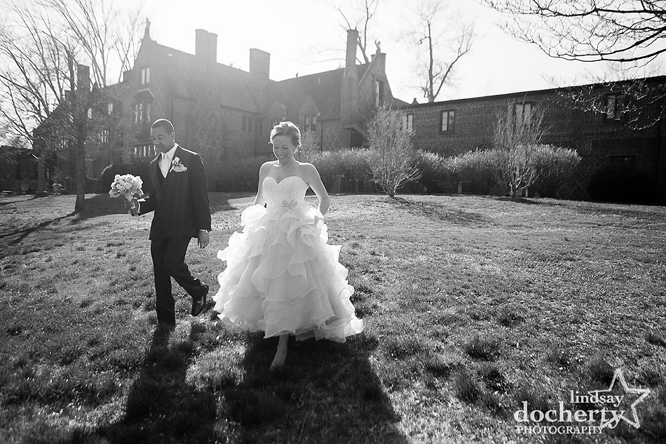 Bride and groom on grounds of Aldie Mansion on wedding day