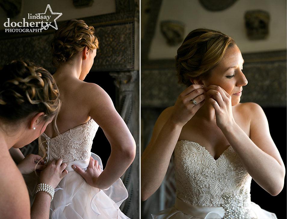 Bride getting ready at Aldie Mansion in Doylestown