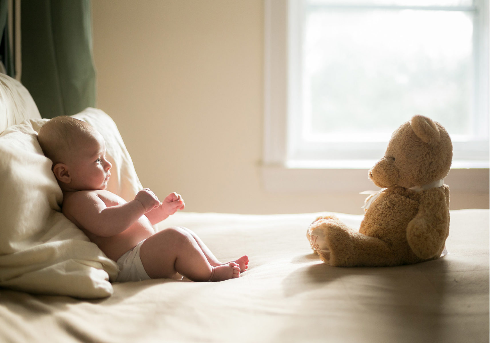 portarit of baby with stuffed animal bear