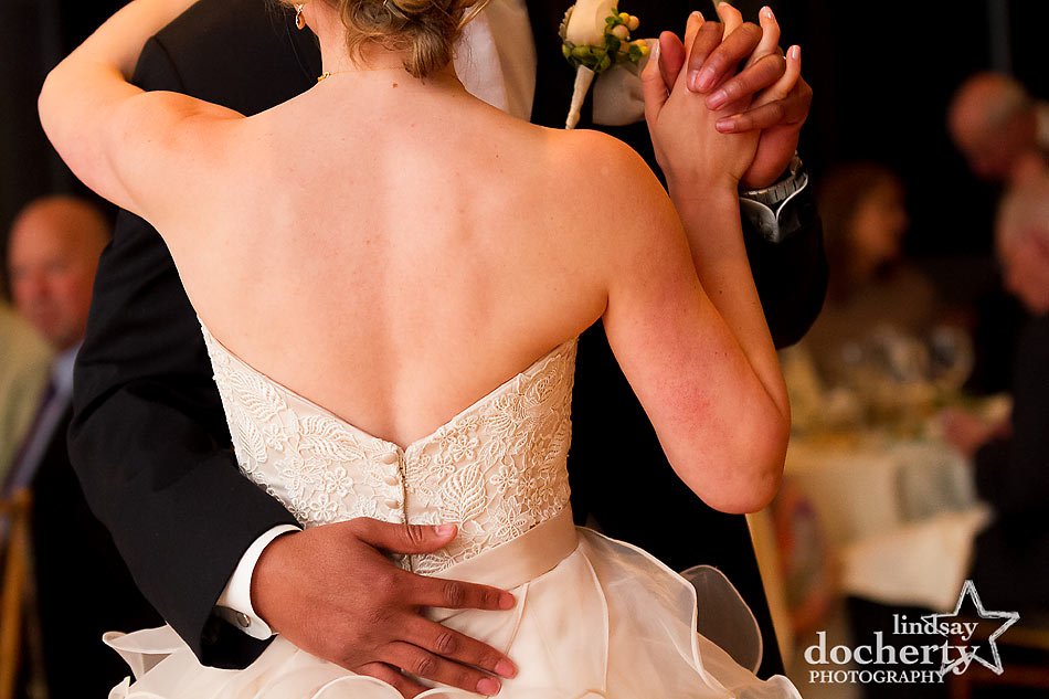 First dance for wedding couple at Aldie Mansion