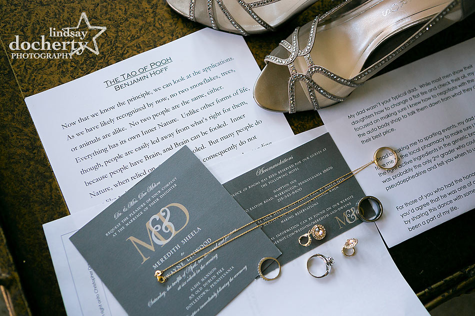 Wedding invitations and brides jewelry and shoes