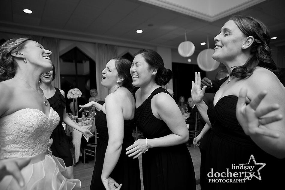 bride and bridesmaids at Aldie Mansion wedding reception