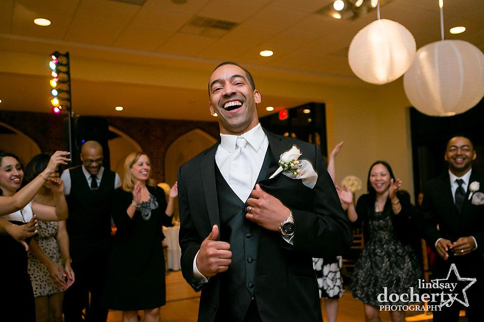 groom dancing at Aldie Mansion wedding reception