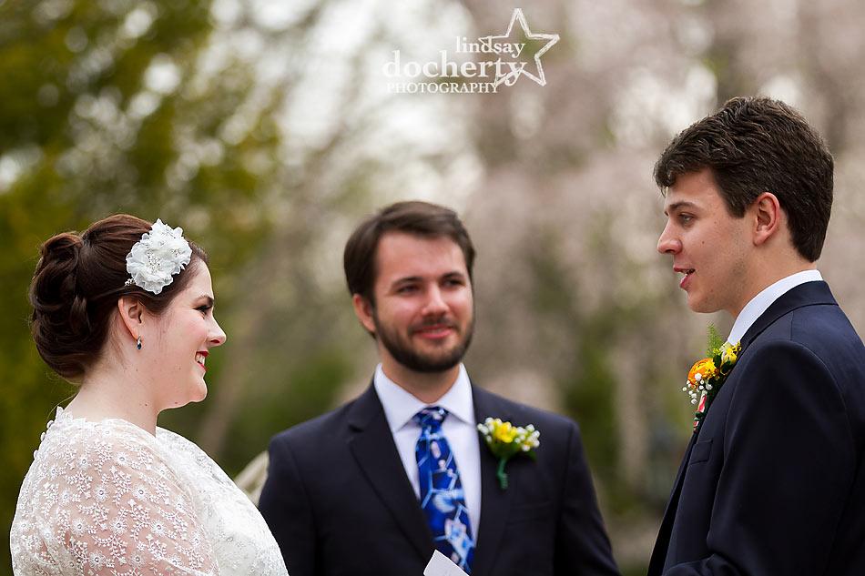 Aldie Mansion wedding ceremony in front courtyard