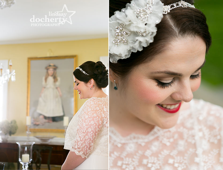 bridal portrait close up vintage bride with red lipstick