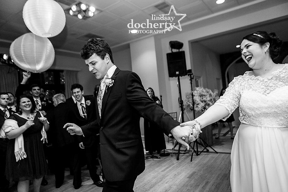 Bride and groom enter reception at Aldie Mansion