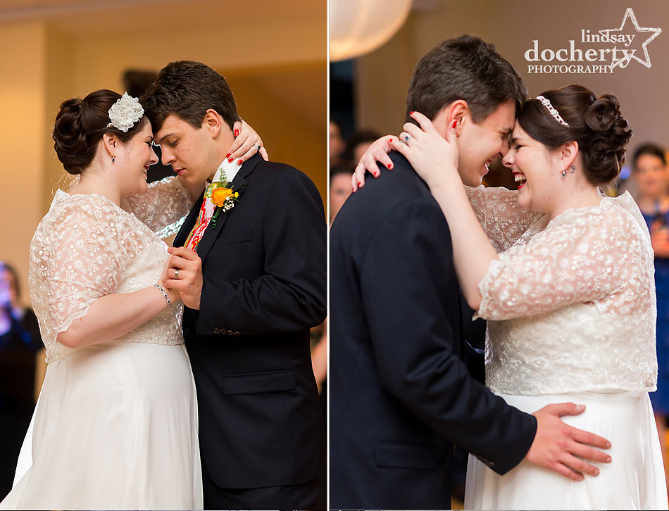 Bride and groom first dance at Aldie Mansion