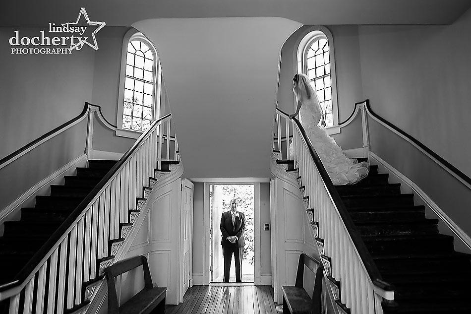 Bride and groom pre-ceremony at Immanuel Episcopal Church in Newark Delaware