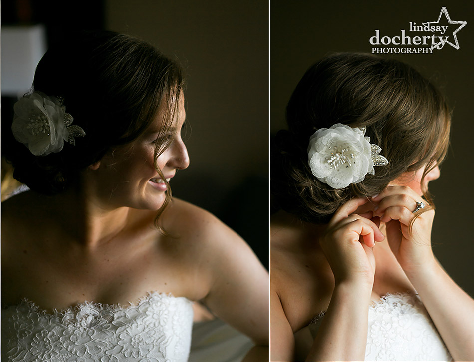bride getting ready at ACE Conference Center in Lafayette Hill