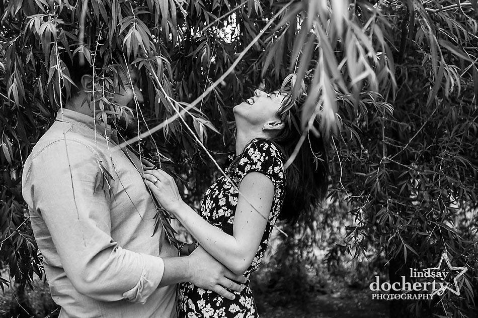 Summer Philadelphia engagement session in trees