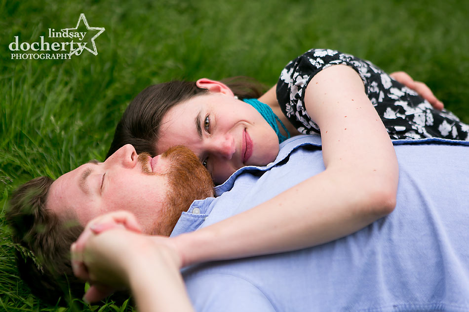 Summer Philadelphia engagement session on grass
