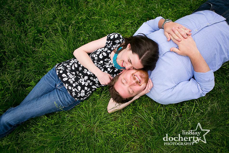 Summer Philadelphia engagement session on grass