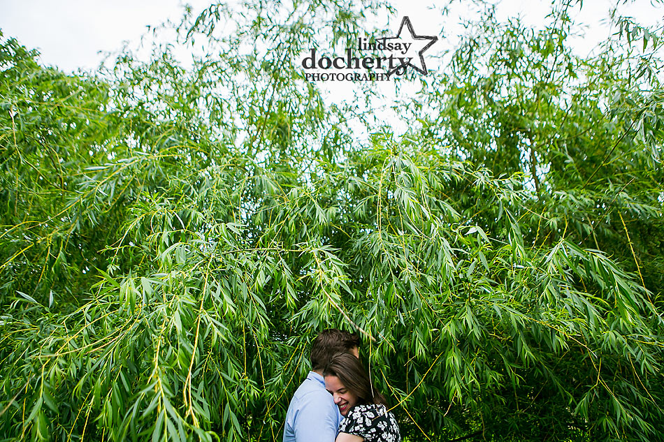 Summer Philadelphia engagement session in trees