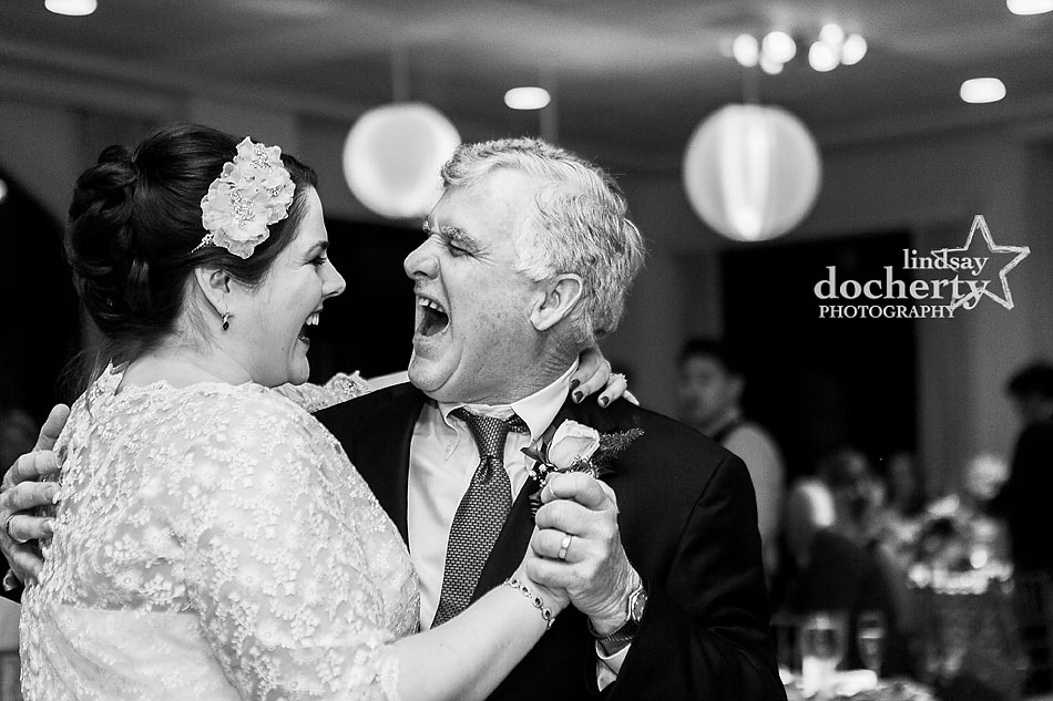 father daughter dance at Wedding reception at Aldie Mansion