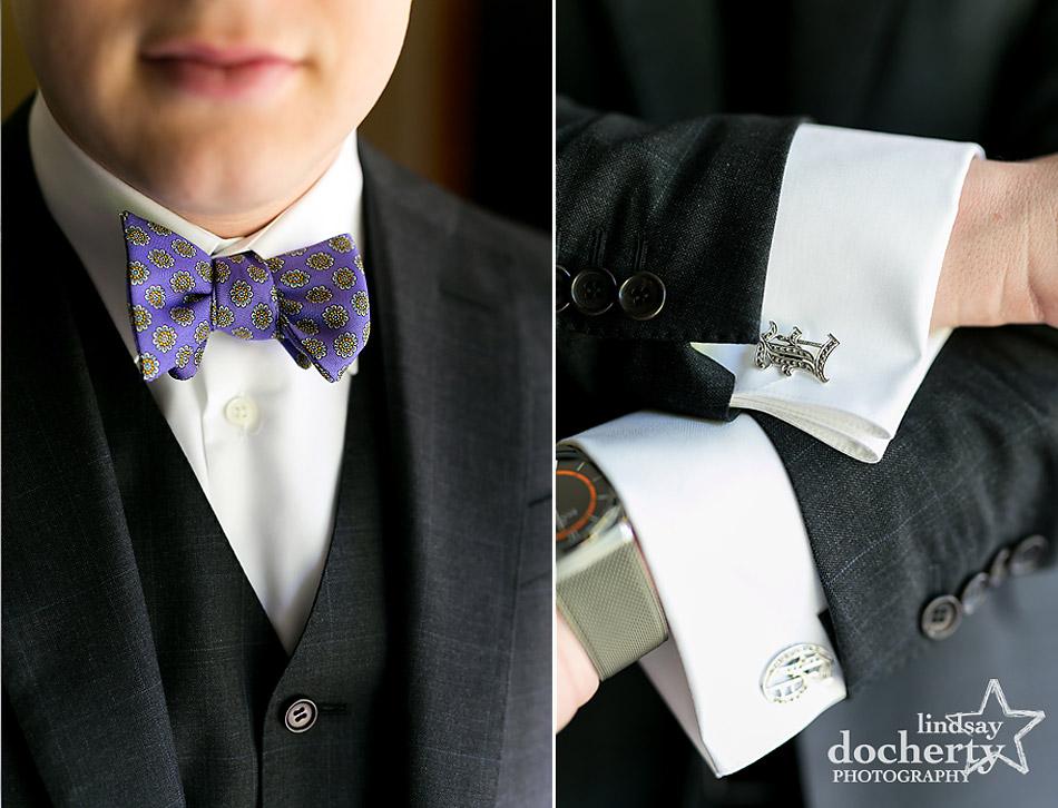 groom details custom cufflinks and purple bowtie