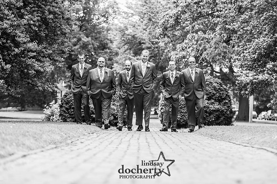 groom and groomsmen black and white  creative group shot