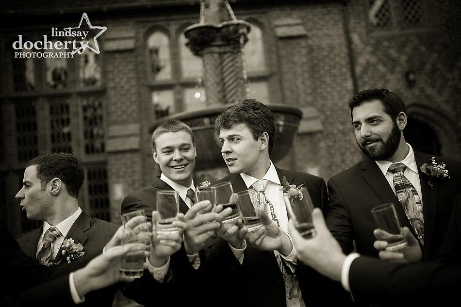 groomesmen toast before ceremony at Aldie Mansion