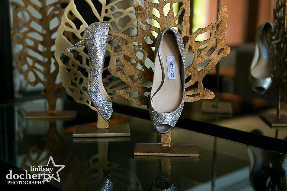 bride's silver sparkly Jimmy Choo heels for wedding