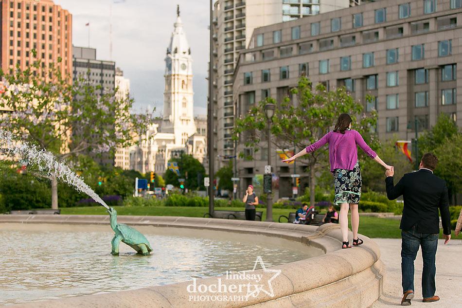 Philadelphia engagement session at Logan Square
