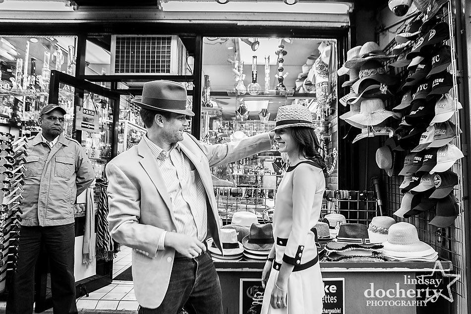 New-York-City-engagement-photography-session-with-hats
