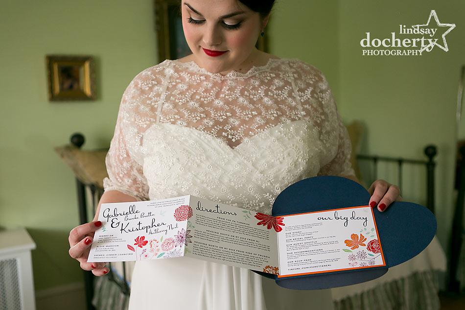 vintage bride and petalfold wedding invitation