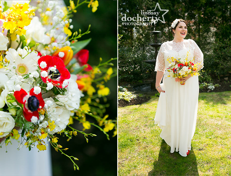 vintage bride with red and yellow flowers